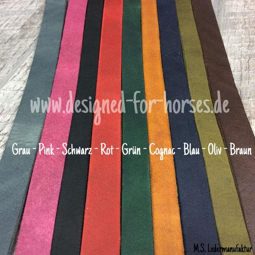 Farbauswahl Fettleder für Hundehalsband und Leine