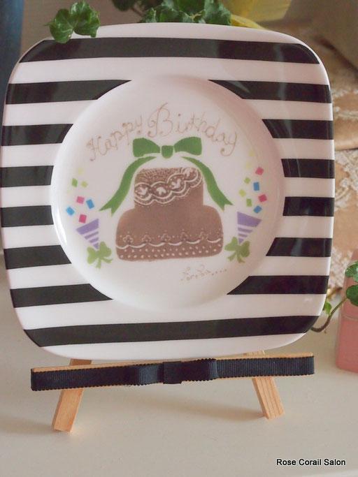 ポーセラーツ課題:スクエアリムプレート(ケーキ)