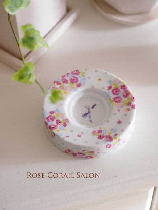 ポーセラーツ生徒様作品:花柄のキャンドル置き