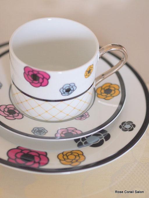 ポーセラーツ:カメリアC&S、ケーキ皿セット