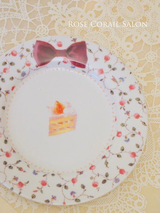 ポーセラーツ生徒様作品:ラデュレなケーキ皿