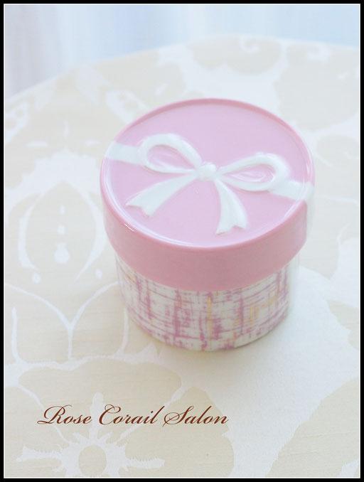 ポーセラーツ生徒様作品:ピンク×ツイードのリボンボックス