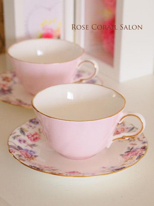 ポーセラーツ生徒様作品:花柄綺麗なカップ&ソーサー