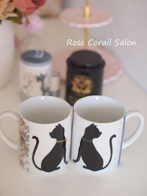 ポーセラーツ:猫のペアマグカップ