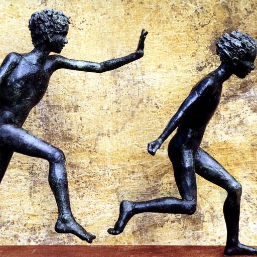 La poursuite, bronze, en bronze sur commande, Belgique