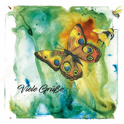 Schmetterling_Viele Grüße, Aquarell Kunstdruck © Britta Jessen