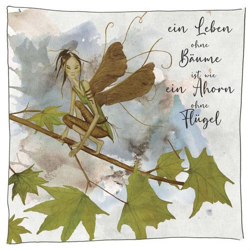 Baumelfe Ahorn_Grußkarte, Künstlerkarte © Britta Jessen