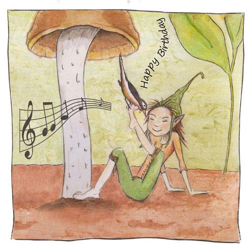 Zwerg mit Pilz_Geburtstagskarte, Künstlerkarte © Britta Jessen