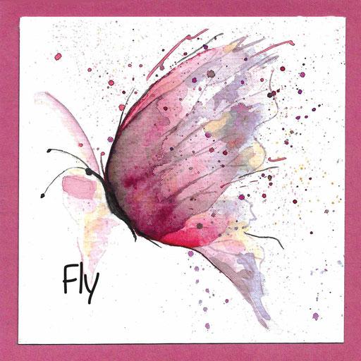 "Schmetterlin ""Fly"", Aquarell Kunstdruck © Britta Jessen"
