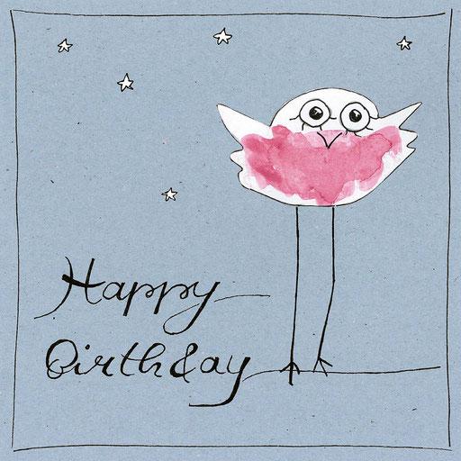 Vogel_Happy Birthday, Aquarell Kunstdruck © Britta Jessen