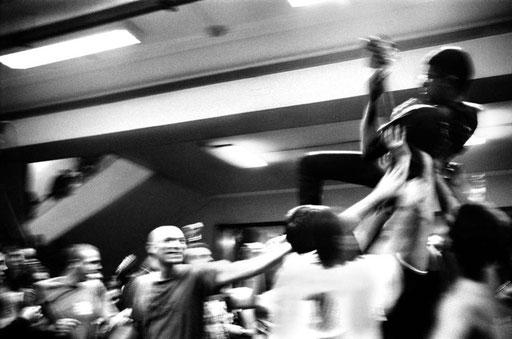 Bass player Emiliano aka 'Il Caciotta' (The Semi Soft-Cheese) of Roman Political Redskin band 'Tear Me Down' during a concert in the temporarily squatted Public University of Rome 'Università La Sapienza'. 2005