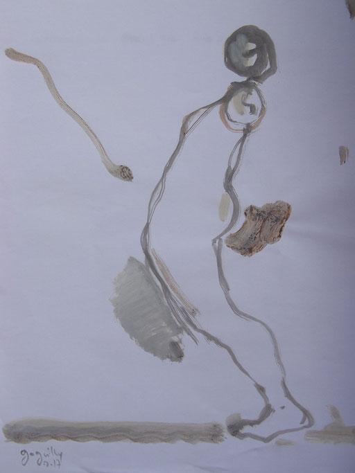 La cueillette 18 - Huile et brou de noix sur papier - 2013 - 42 x 21,7 cm - Didier Goguilly