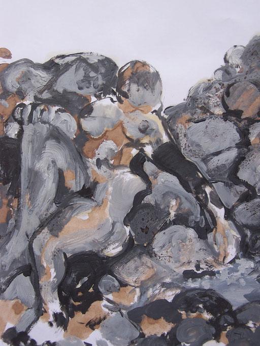 La cueillette 5 - Huile et brou de noix sur papier - 2013 - 42 x 21,7 cm (détail) - Didier Goguilly