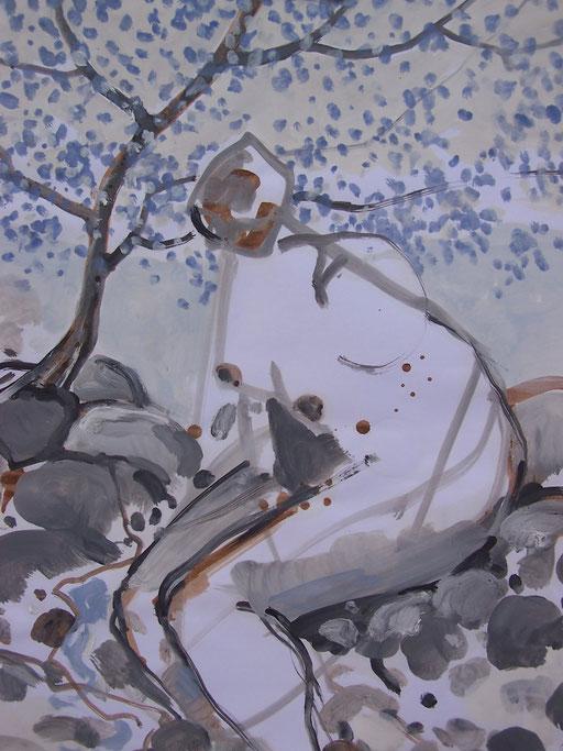 La cueillette 12 - Huile et brou de noix sur papier - 2013 - 42 x 21,7 cm (détail) - Didier Goguilly