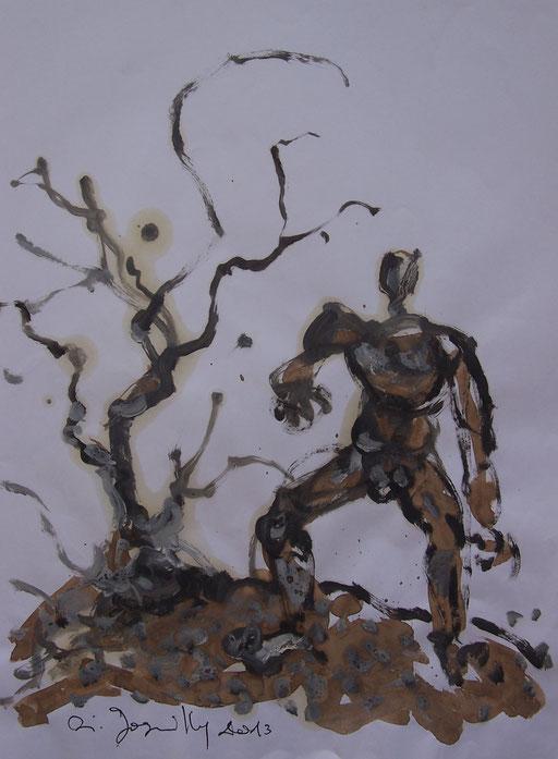La cueillette 7 - Huile et brou de noix sur papier - 2013 - 42 x 21,7 cm - Didier Goguilly
