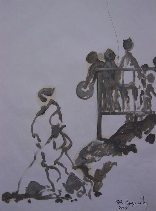 La cueillette 4 - Huile et brou de noix sur papier - 2013 - 42 x 21,7 cm - Didier Goguilly