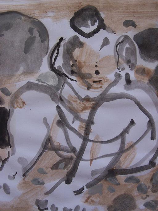 La cueillette 17 - Huile et brou de noix sur papier - 2013 - 42 x 21,7 cm (détail) - Didier Goguilly