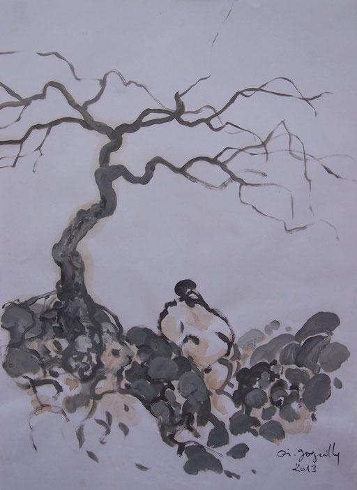 La cueillette 8 - Huile et brou de noix sur papier - 2013 - 42 x 21,7 cm - Didier Goguilly