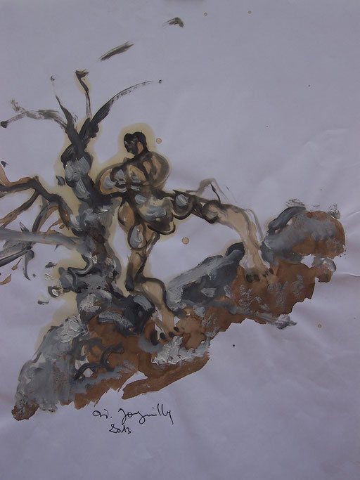 La cueillette 6 - Huile et brou de noix sur papier - 2013 - 42 x 21,7 cm - Didier Goguilly