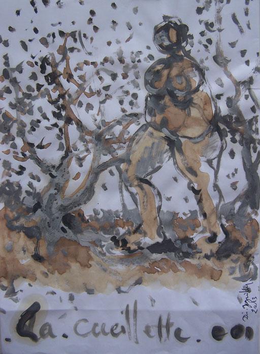 La cueillette image première - Huile et brou de noix sur papier - 2013 - 42 x 21,7 cm - Didier Goguilly