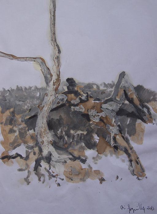 La cueillette 2 - Huile et brou de noix sur papier - 2013 - 42 x 21,7 cm - Didier Goguilly