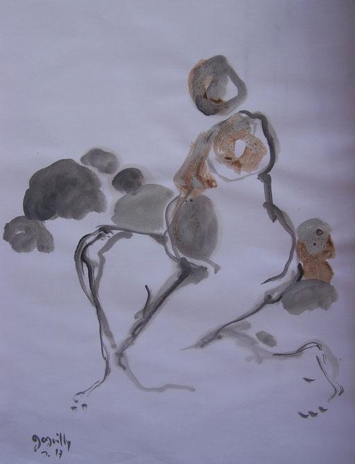La cueillette 16 - Huile et brou de noix sur papier - 2013 - 42 x 21,7 cm - Didier Goguilly