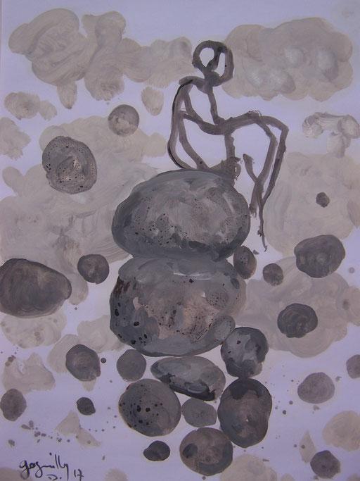 La cueillette 13 - Huile et brou de noix sur papier - 2013 - 42 x 21,7 cm - Didier Goguilly