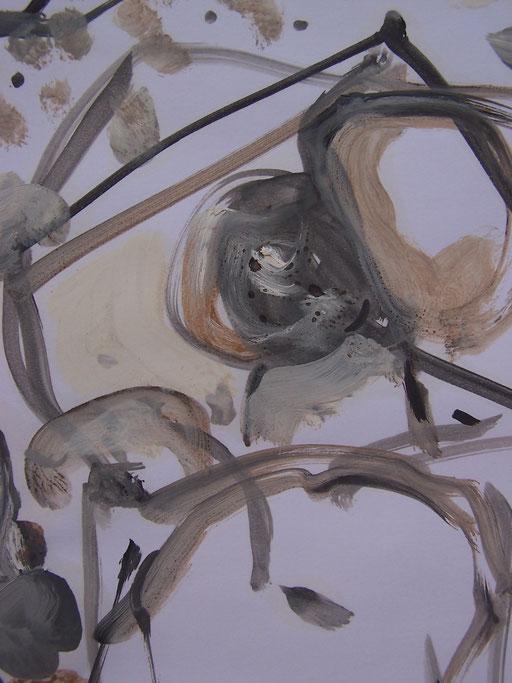 La cueillette 10 - Huile et brou de noix sur papier - 2013 - 42 x 21,7 cm (détail) - Didier Goguilly