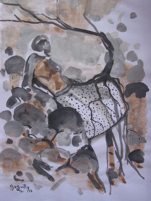La cueillette 14 - Huile et brou de noix sur papier - 2013 - 42 x 21,7 cm - Didier Goguilly