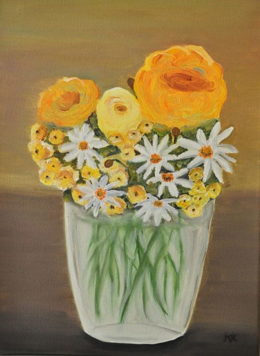Blumenstrauß in der Vase, B 40 x H 30, Öl auf Leinwand, 280,-- EUR