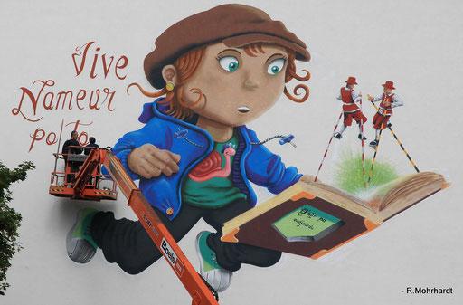 """Fresque """"Nameur po tot""""_ Centre Ville Namur (rue Basse Marcelle) 2017"""