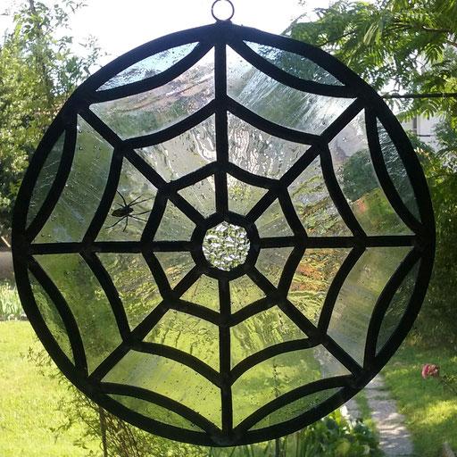 Sun catcher en vitrail araignée, diam.20cm