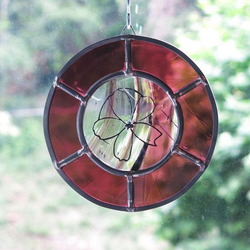 """Suncatcher en vitrail """"Sakura"""", diam. 14cm"""