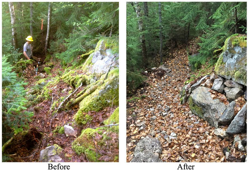 Before and after pictures of a typical rocky section