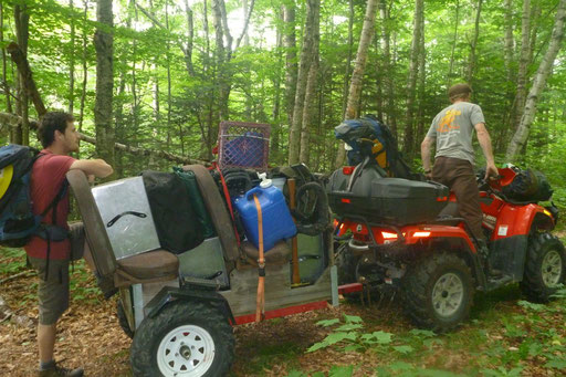 Base camp gear and tools were brought in with an ATV until the trail got too steep and narrow