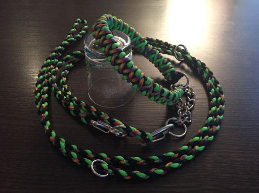 Breites Halsband (Solomon's Fire) mit Durchzugkette und Doppelleine