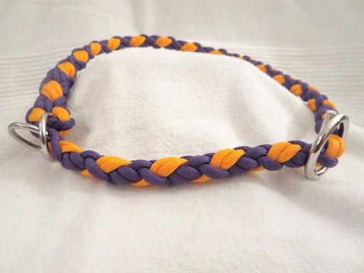 Schlupfhalsband, 6 fach rund geflochten: lila, goldenrod