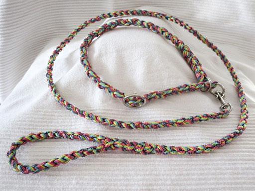 Leine mit passendem Schlupfhalsband (ca. 55 cm): light stripes