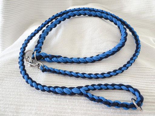 Leine mit passendem Schlupfhalsband (ca. 55 cm), längs geflochten & Ring in der Handschlaufe: colonial blue, midnight blue
