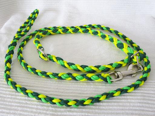 Schlupfhalsband (ca. 55 cm) mit 6 Schnüren 4-fach geflochten und passender Leine, 4-fach geflochten: neon yellow, neon green, kelly green