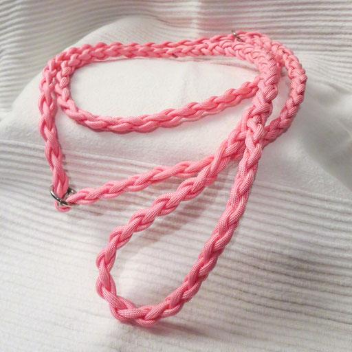 Retrieverleine, 4-fach geflochten: rosa pink