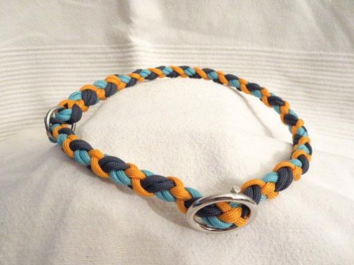 Schlupfhalsband (ca. 55 cm), 6 Fäden 4-fach geflochten: turquoise, navy blue, goldenrod