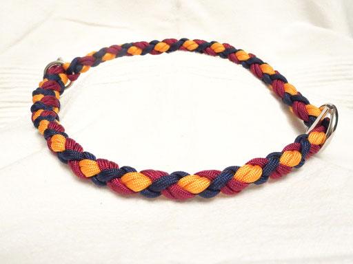 Schlupfhalsband, 6 Schnüre 4-fach geflochten: goldenrod, midnight blue, burgundy