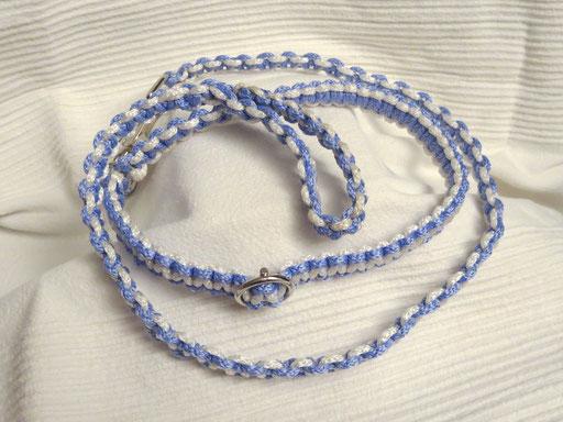 Schlupfhalsband mit passender Leine, Solomon-Bar: weiß, flieder