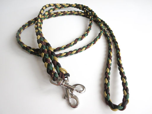 Pferde-Zügel, ca. 2,80m, 4-fach geflochten: gold, midnight blue, walnut, emerald green