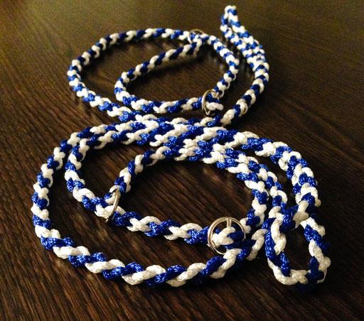 Retrieverleinen, 4-fach geflochten: weiß, royalblau (IRJGV-Terrier-Spezial-Anfertigung =))