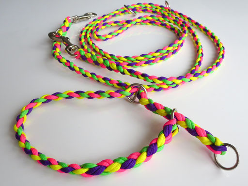Leine, verstellbar, 4-fach geflochten mit passendem Schlupfhalsband: neon-grün, neon-gelb, neon-pink, bright purple
