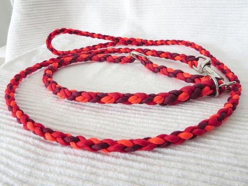 Schlupfhalsband (ca. 55 cm) mit 6 Schnüren 4-fach geflochten und passender Leine, 4-fach geflochten: neon orange, burgundy, red