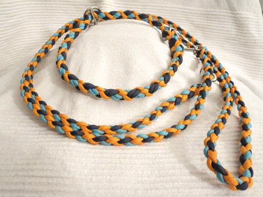 Schlupfhalsband (ca. 55 cm) mit verstellbarer Leine 4-fach geflochten: turquoise, navy blue, goldenrod