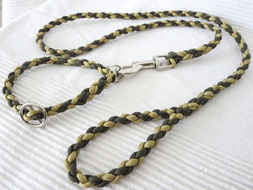 Schlupfhalsband (ca. 36 cm) mit passender Leine, 4-fach geflochten: gold, olive drab